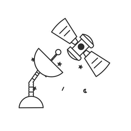 space antenna with satellite isolated icon vector illustration design