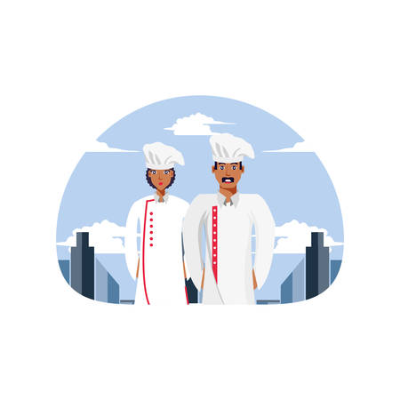 professionals chef couple avatar character vector illustration design