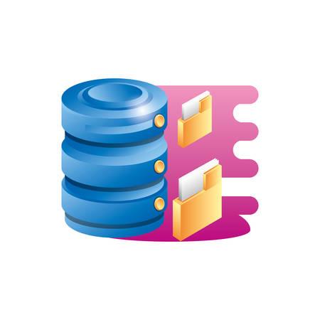 data center disk with folders vector illustration design
