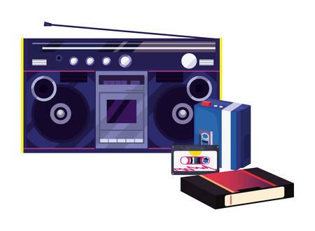 boombox stereo music cassette videotape retro 80s vector illustration