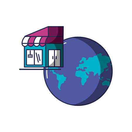 store building facade with planet earth vector illustration design