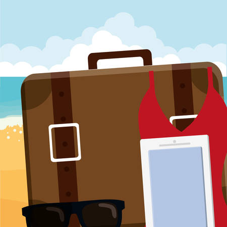 suitcase travel with sunglasses and smartphone illustration design