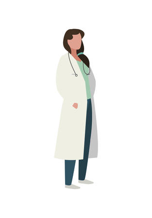 female doctor professional with stethoscope vector illustration design Illusztráció