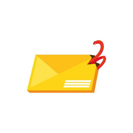 envelope mail with snake attack vector illustration design