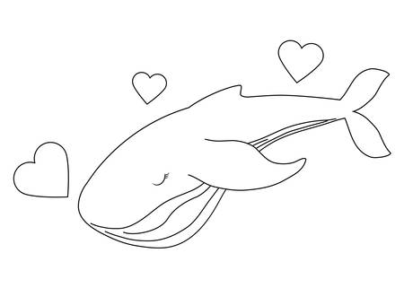 cute whale with hearts love vector illustration design