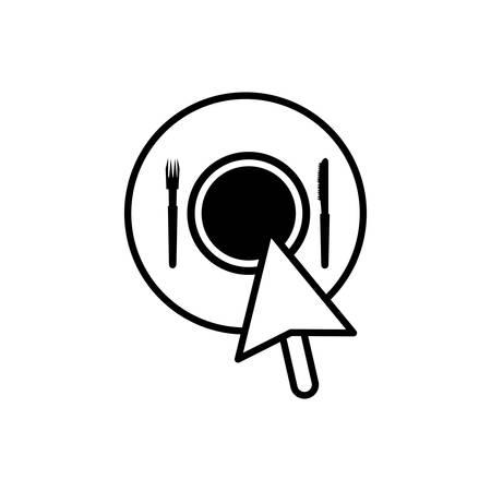 cursor index with restaurant app vector illustration design  イラスト・ベクター素材
