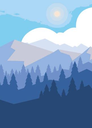 Montañas con bosque nevado escena diseño ilustración vectorial