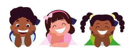 happy little interracial kids characters vector illustration design Stock Vector - 124580136