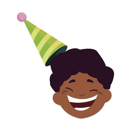 cute happy black boy head with birthday hat vector illustration design
