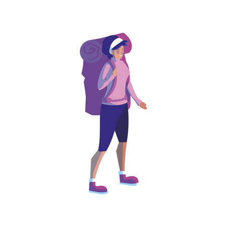 adventurous woman with travelbag vector illustration design