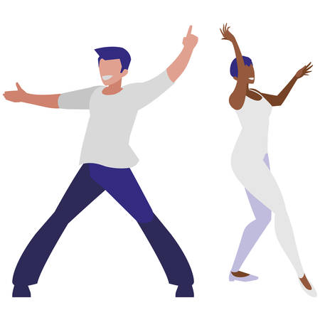 young interracial couple dancing characters vector illustration design Ilustração