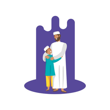 islamic man with son characters vector illustration design