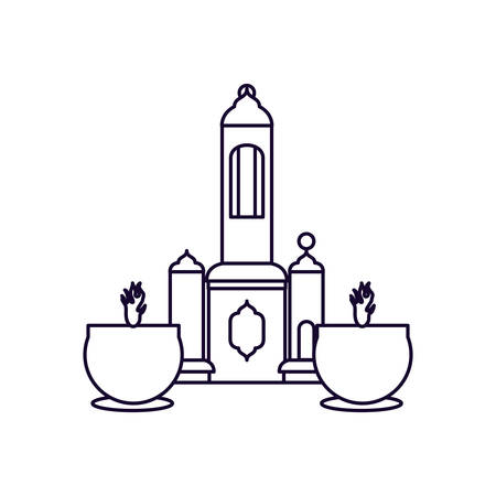 mosque castle with candle ramadan kareem vector illustration design  イラスト・ベクター素材
