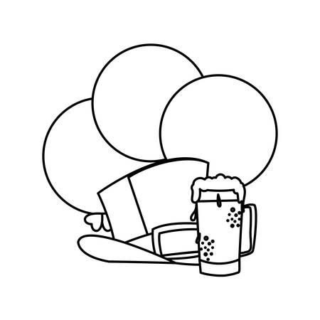 lemprechaun tophat with balloons helium vector illustration design Illustration