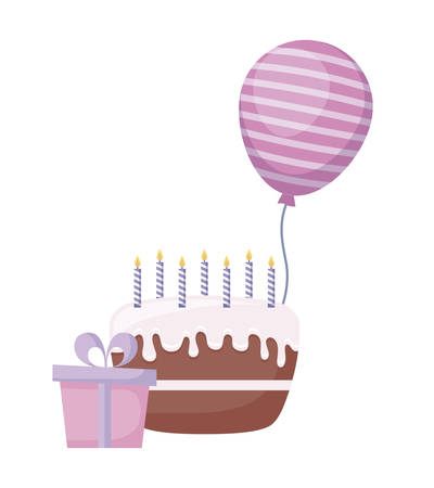 sweet cake with gift box and balloon helium vector illustration design Stock Illustratie