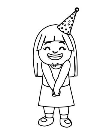 cute happy girl with birthday hat vector illustration design  イラスト・ベクター素材