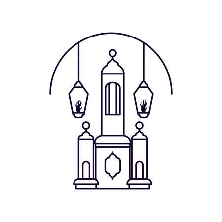 Ramadan Kareem lamp with mosque castle vector illustration design  イラスト・ベクター素材