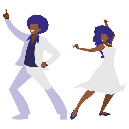 young black couple dancing characters vector illustration design