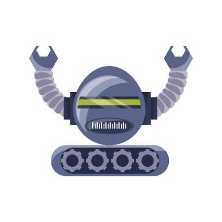 cartoon robot icon over white background colorful design vector illustration  イラスト・ベクター素材