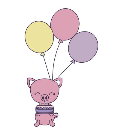 cute piggy with cake of birthday and balloons helium vector illustration design Ilustracja