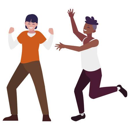 interracial young men celebrating characters vector illustration design Imagens - 124726695