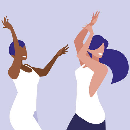 young interracial girls dancing characters vector illustration design