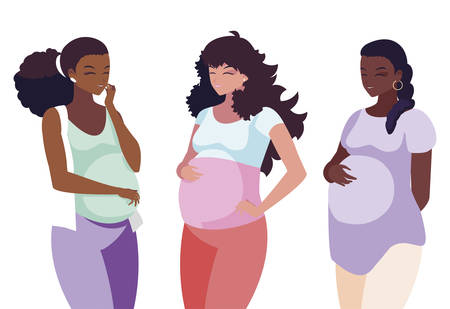 interracial group of pregnancy women in heart vector illustration design Stock Illustratie