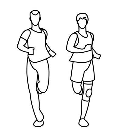 athletic men running character vector illustration design
