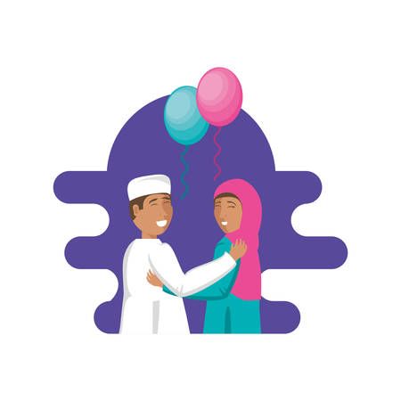 islamic couple lovers with balloons helium vector illustration design