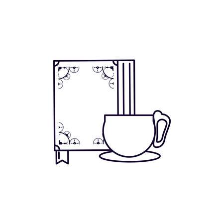 koran book and golden cup ramadan kareem vector illustration design