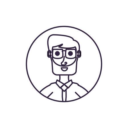 businessman elegant in frame circular vector illustration design Ilustração