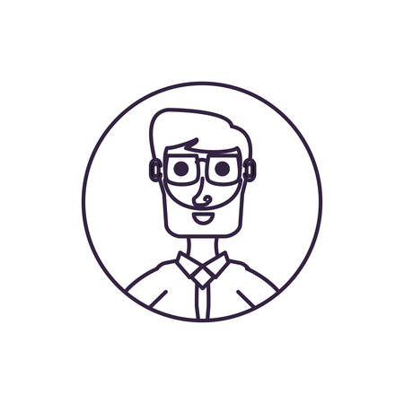 businessman elegant in frame circular vector illustration design Ilustrace