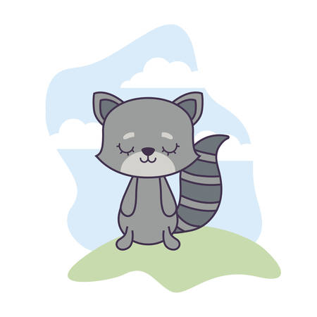 cute raccoon animal in landscape scene vector illustration design Ilustracja