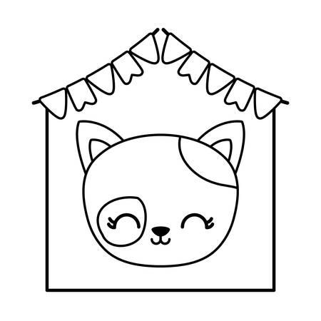 head of cute cat in frame with garlands hanging vector illustration design Иллюстрация