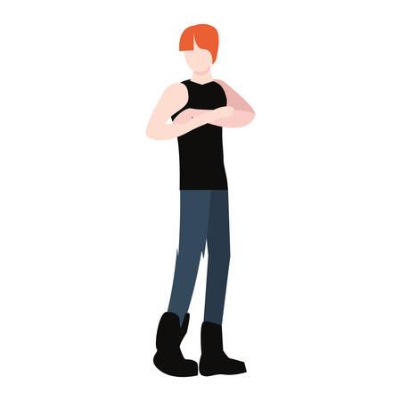 man avatar character on white background vector illustration