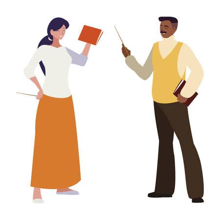 interracial teachers couple avatars characters vector illustration design  イラスト・ベクター素材