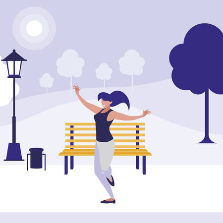 young woman dancing in the park character vector illustration design Ilustrace