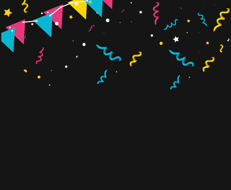 pattern of party confetti with garlands hanging vector illustration design