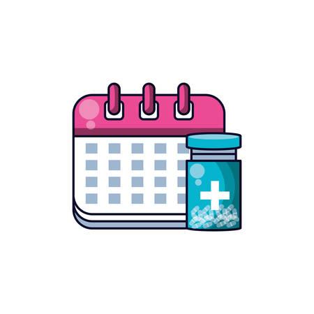 calendar reminder with bottle of medicine vector illustration design