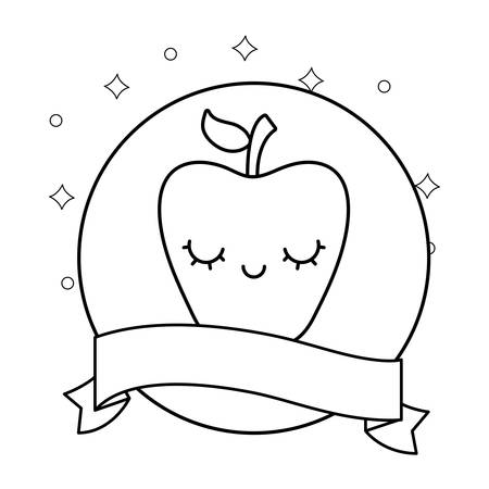 fresh apple with ribbon character vector illustration design