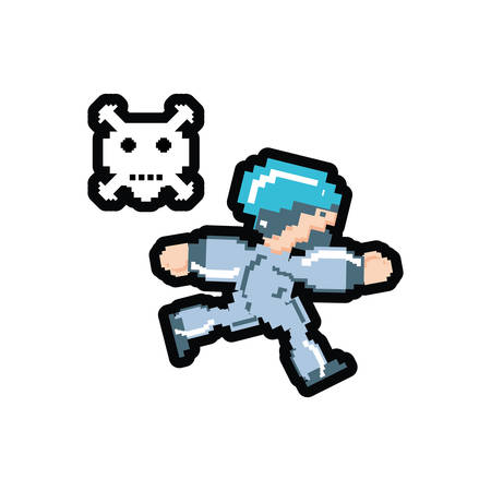 video game avatar pixelated with danger skull vector illustration design