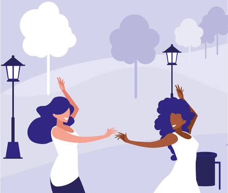 young interracial girls dancing in the park vector illustration design Ilustrace