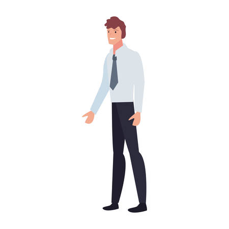 businessman standing character on white background vector illustration