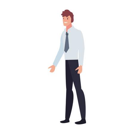 businessman standing character on white background vector illustration Imagens - 124727209