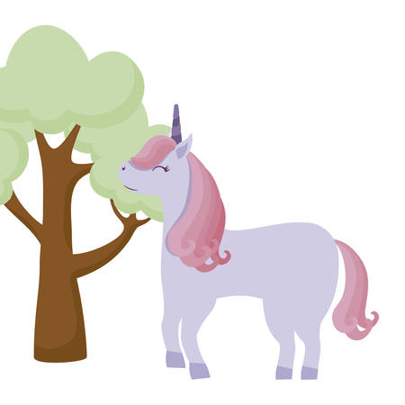 cute unicorn animal with tree plant vector illustration design Ilustracja