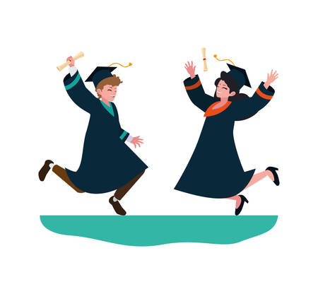 young couple students graduated celebrating vector illustration design Vectores
