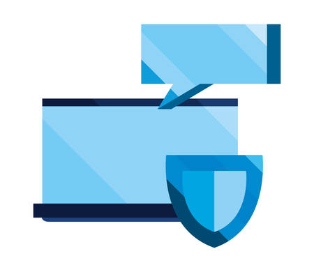 laptop shield protection message cybersecurity data vector illustration