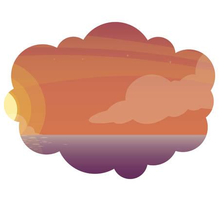 sky sunset beautiful scene vector illustration design