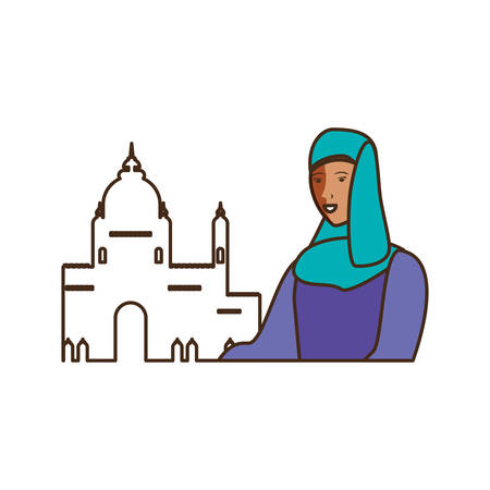 islamic woman ethnicity with mosque building vector illustration design