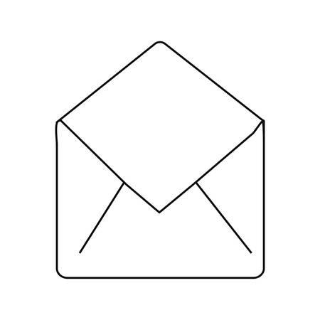 open email envelope message communication icon vector illustration outline Illustration